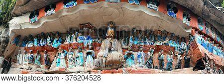 Panoramic view of stone carvings in Dazu in Chongqing China