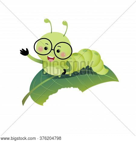 Vector Illustration Cute Cartoon Caterpillar Wearing Glasses And Showing His Hand On The Leaf.