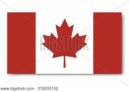 Canadian Flag. Vector Icon Of Red Maple Leaf. An Exact Image Of The Symbol Of Canada. Patriotic Badg
