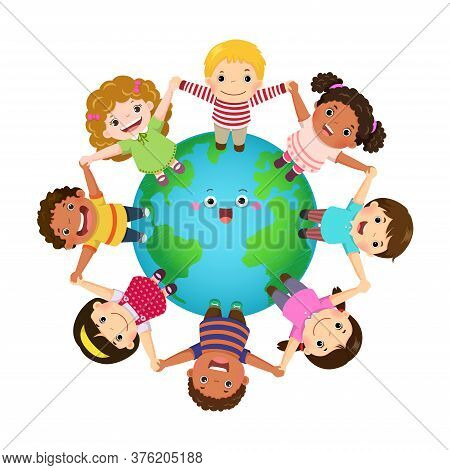 Multicultural Kids Holding Hands Together Around The World. Happy Children's Day.