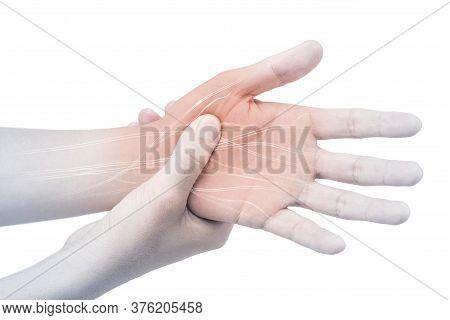 Hand Nerve Pain White Background Hand Injury