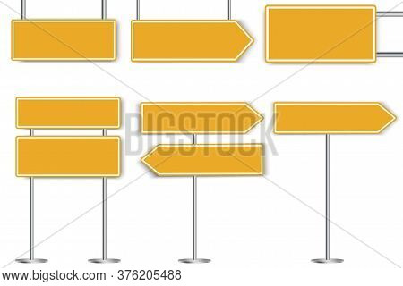 Yellow Blank Road Signs. Vector Street Notifications. Flat Road Safety Sign On The Highway.