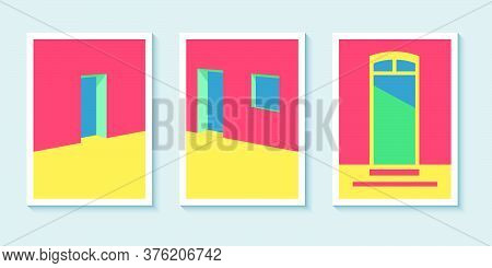 Architectural Perspective Background Poster Design Vector. Poster Wall Art With Geometric Architectu