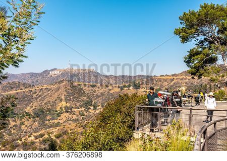 Los Angeles, California - October 09 2019: Los Angeles, California. Tourists At Griffith Park And Ho