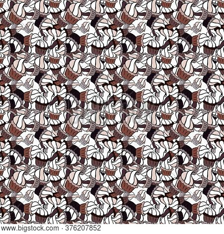 Endless Pattern, White, Black And Brown Background. White, Black And Brown Color. Wrapping Paper. Cr