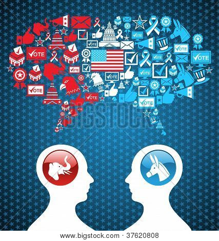 Democratic and Republican social networks political rally. USA elections discussion: two men facing heads with icons speech bubbles. Vector file layered for easy manipulation and custom coloring. poster