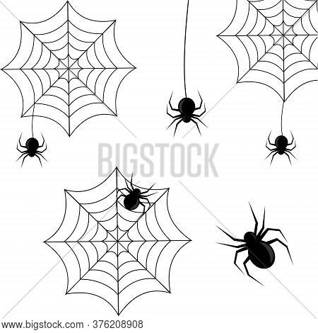 Set Of Spiders On A Web In Black On A White Background For Halloween, Vector Illustration, Design, D