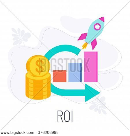 Roi Icon. Return On Investment. Stack Of Coins, Graph And Rocket Taking Off. Flat Vector Illustratio