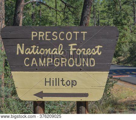 Prescott National Forest Campground Sign In Prescott,  Arizona