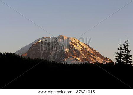 Mount Rainier sunset and blue sky