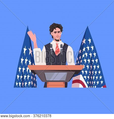 Male Politician Making Speech From Tribune With Usa Flag 4th Of July American Independence Day Celeb