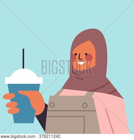 Arabic Woman In Traditional Clothes Drinking Cocktail Arab Smiling Girl Avatar Female Cartoon Charac