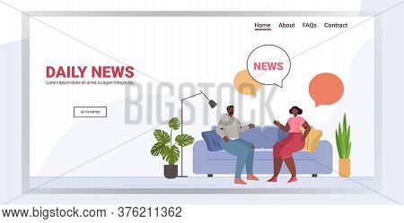 African American Couple Discussing Daily News Spending Time Together Chat Bubble Communication Conce