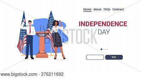 Politician Couple Making Speech From Tribune With Usa Flag 4th Of July American Independence Day Cel