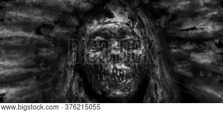 The Face Of A Mummy With A Broken Skull. Illustration In Horror Genre With Coal And Noise Effect. Bl