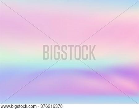 Hologram Effect Glitch Gradient Vector Design. Glowing Pastel Rainbow Unicorn Background. Liquid Col