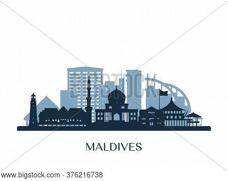 Maldives Skyline, Monochrome Silhouette. Design Vector Illustration.