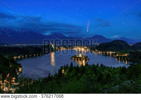 Comet C 2020 F3 Neowise In Night Sky Over Lake Bled. Lake Bled Is A Most Popular Travel Destination