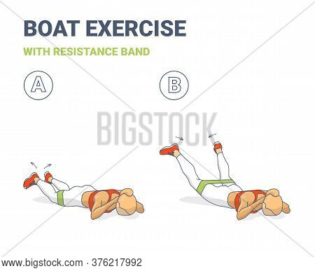 Back Boat With Resistance Band Exercise Illustration. Colorful Concept Of Girls Back Strength Workou