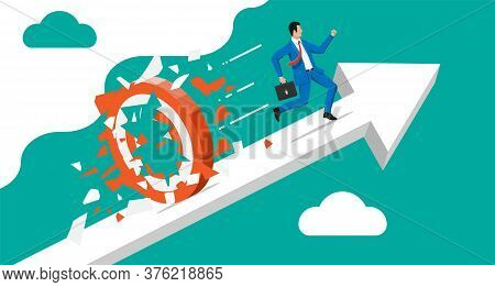 Businessman Running And Breaking Target. Business Man In Suit With Briefcase. Goal Setting. Smart Go