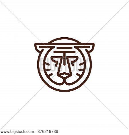 Tiger Jaguar Leopard Cougar Head Circle Line Logo Template