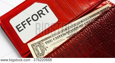 Words Text Effort On Business Card, And Red Leather Wallet. Financial,business Concept