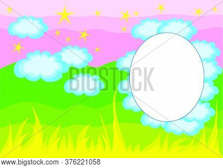 Background With Blue Sky And Green Grass, Vignette For Photography, Vector Illustration, Eps