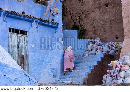 Chefchaouen, Morocco - Oct 14, 2019: Street Life In The Blue City Of Chefchaouen Or Chaouen, A City