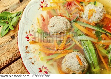 Soup With Meat Balls And Vegetables
