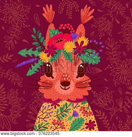 Hand Drawn Vector Illustration With A Cute Squirrel In A Flower Wreath, For Children S Prints, Greet