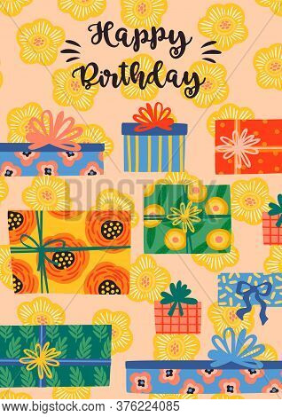 Happy Birthday. Vector Illustration With Cute Gift Boxes.