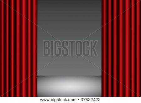 Red Theater Silk Curtain