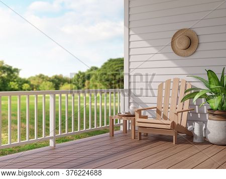 Vintage Style Wood Terrace With Blurry Nature View 3d Render, There Are Wooden Floor And White Plank