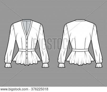 Peplum Blouse Technical Fashion Illustration With, V-neckline, Baseball Collar, Romantic Sleeves, Pl