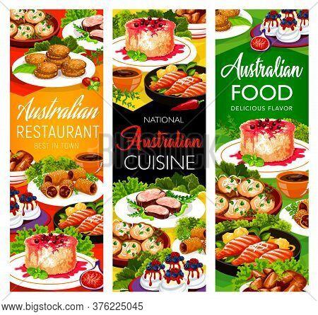 Australian Cuisine Food Dishes, Restaurant Menu, Australia Traditional Meals, Vector. Australian Buf