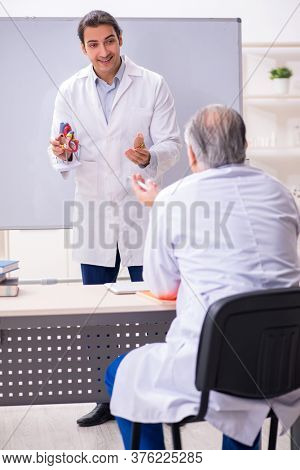 Experienced doctor cardiologist teaching young male assistant