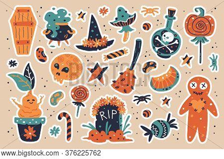 Happy Halloween Design Elements. Halloween Clipart With Witch Hat, Pumpkin, Mushroom, Broom, Gravest
