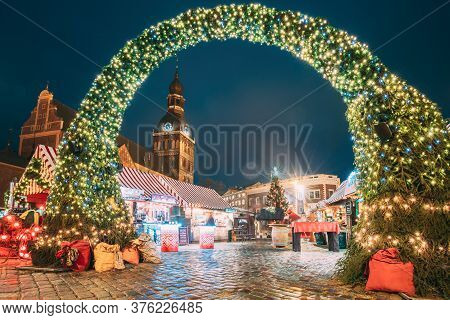 Riga, Latvia - December 13, 2016: Panorama Of Xmas Market On Dome Square With Riga Dome Cathedral. C