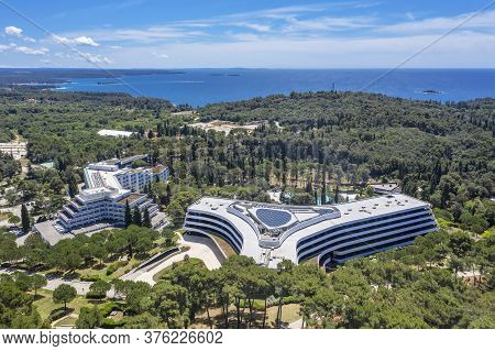 Rovinj, Croatia - June 7, 2020. - An Aerial View Of Modern Hotel Lone In Rovinj, Istria, Croatia