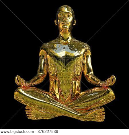 Man Stylized Figure Peace Of Mind Lotus Pose Golden Polished. Human Mental Guru Character Outdoor St