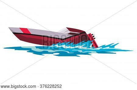 Speed Motorboat. Sea Or River Vehicle. Sport Nautical Summer Transportation. Motorized Water Vessel