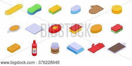 Washcloth Icons Set. Isometric Set Of Washcloth Vector Icons For Web Design Isolated On White Backgr