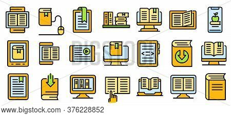 Ebook Icons Set. Outline Set Of Ebook Vector Icons Thin Line Color Flat On White