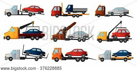 Collection Of Tow Trucks. Cool Flat Towing Trucks With Broken Cars. Road Car Repair Service Assistan