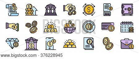 Bank Metals Icons Set. Outline Set Of Bank Metals Vector Icons Thin Line Color Flat On White