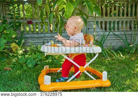 The Baby Learns To Walk In A Walker, On The Grass The Baby Walks In A Walker Under A Tree