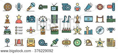 Celebrity Icons Set. Outline Set Of Celebrity Vector Icons Thin Line Color Flat On White