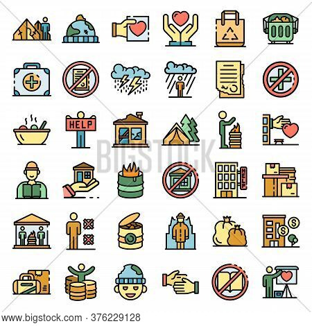 Homeless Shelter Icons Set. Outline Set Of Homeless Shelter Vector Icons Thin Line Color Flat On Whi