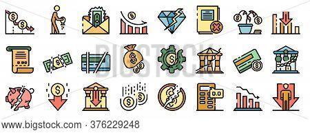Bankrupt Icons Set. Outline Set Of Bankrupt Vector Icons Thin Line Color Flat On White