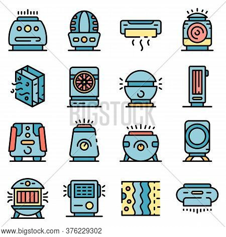 Air Purifier Icons Set. Outline Set Of Air Purifier Vector Icons Thin Line Color Flat On White